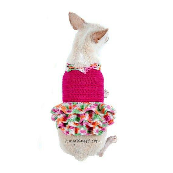 Rainbow Hot pink dog dress handmade Crochet dog fashion by Myknitt #designerdogclothes #dogfashionshow #chihuahua #crochet #etsy #DIY #knit