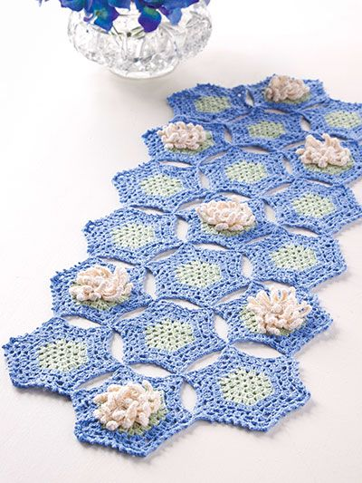 Crochet Kitchen Patterns Table Toppers Water Lily Runner