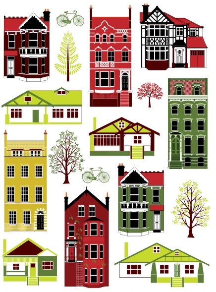 Houses of Different Styles Print   Little Paper Planes