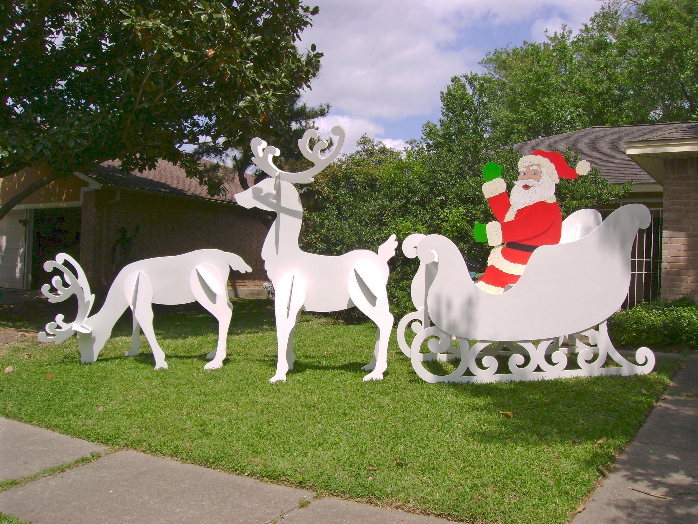 Gigantic Santa Sleigh Reindeer Set I Made For Client From
