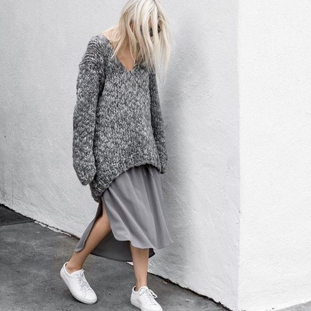 Sweater tumblr grey oversized oversized dress over dress