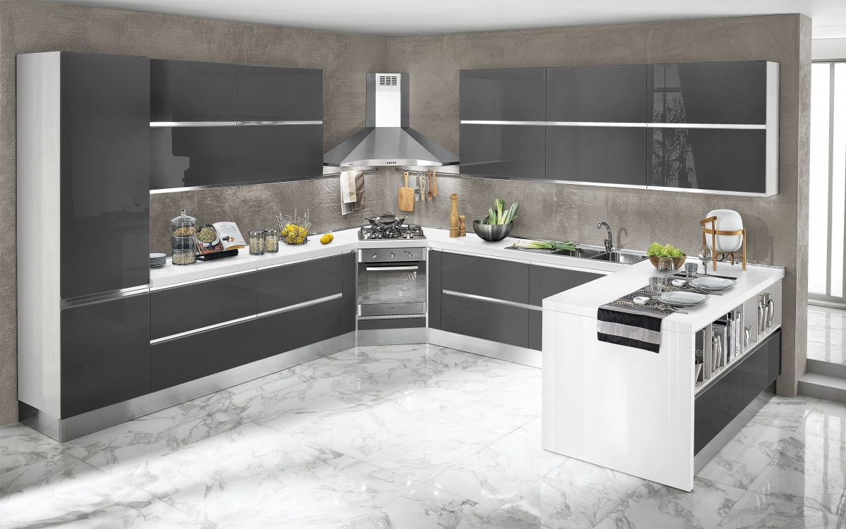 Cucina componibile, bianco, bianco lucido Veronica DFCF