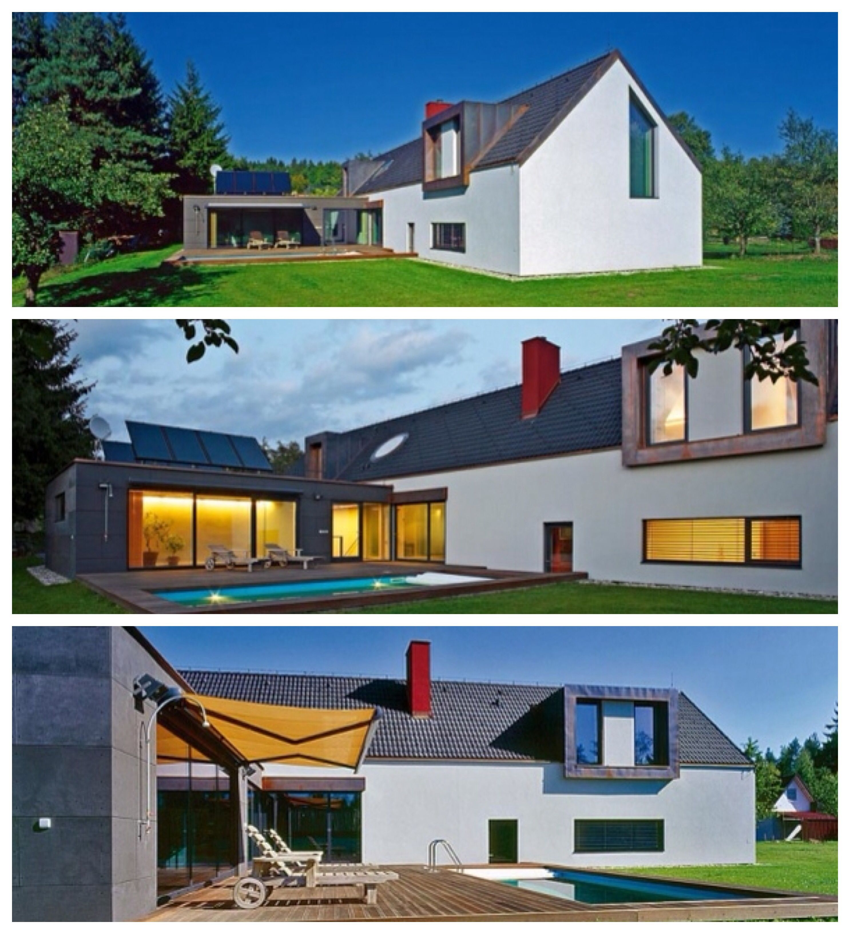 Combined: flat & gable roof; L-shaped building | Gable roof ... on