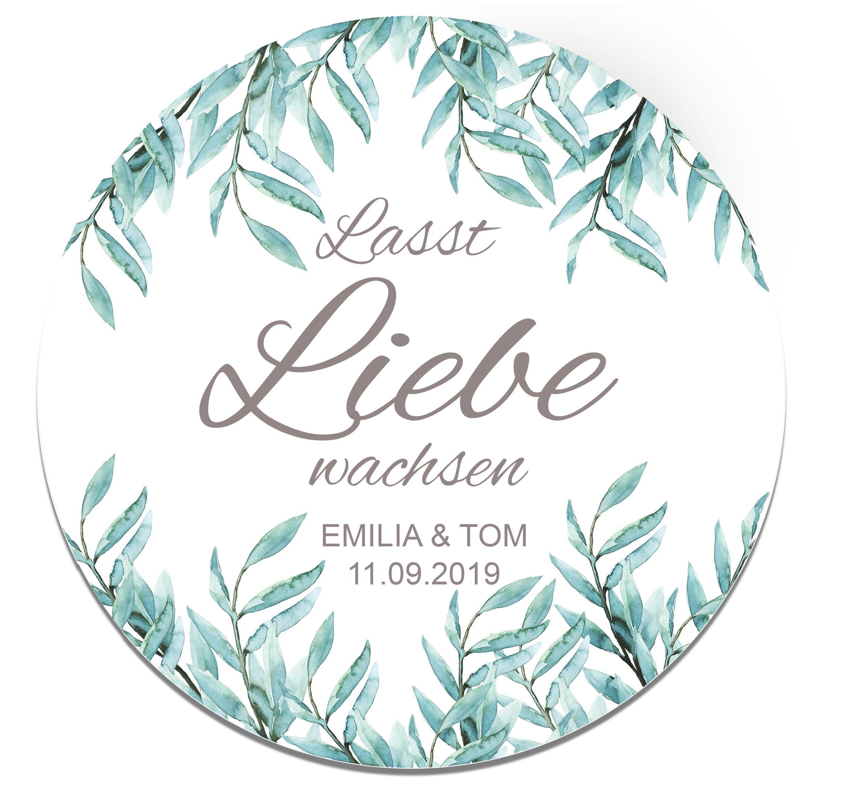 Lasst Liebe Wachsen Aufkleber Sticker Hochzeit Gastgeschenk