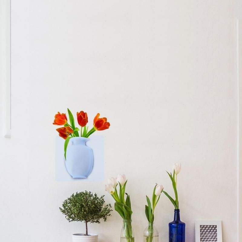 Photo of 3D DIY Art Decals Creative Gel Vase Wall Creative Stickers Flowers Home Bedroom Living Room Kitchen Decoration Accessories