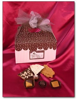 Bruttles in Spokane Valley, WA uses our gable boxes for sweet gift baskets. http
