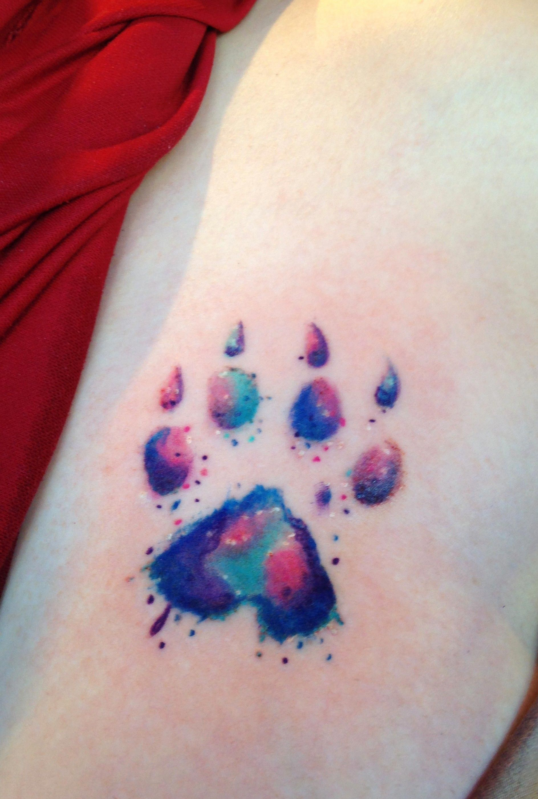 Dog Paw Print Watercolor Tattoo By Diane Lange Moonlight Tattoo