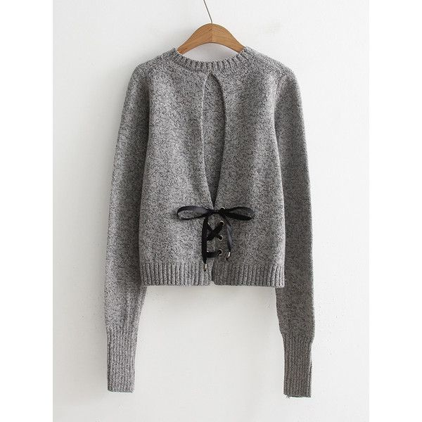 2aac3f37e1 SheIn(sheinside) Lace Up Back Jumper Sweater ( 20) ❤ liked on Polyvore  featuring tops