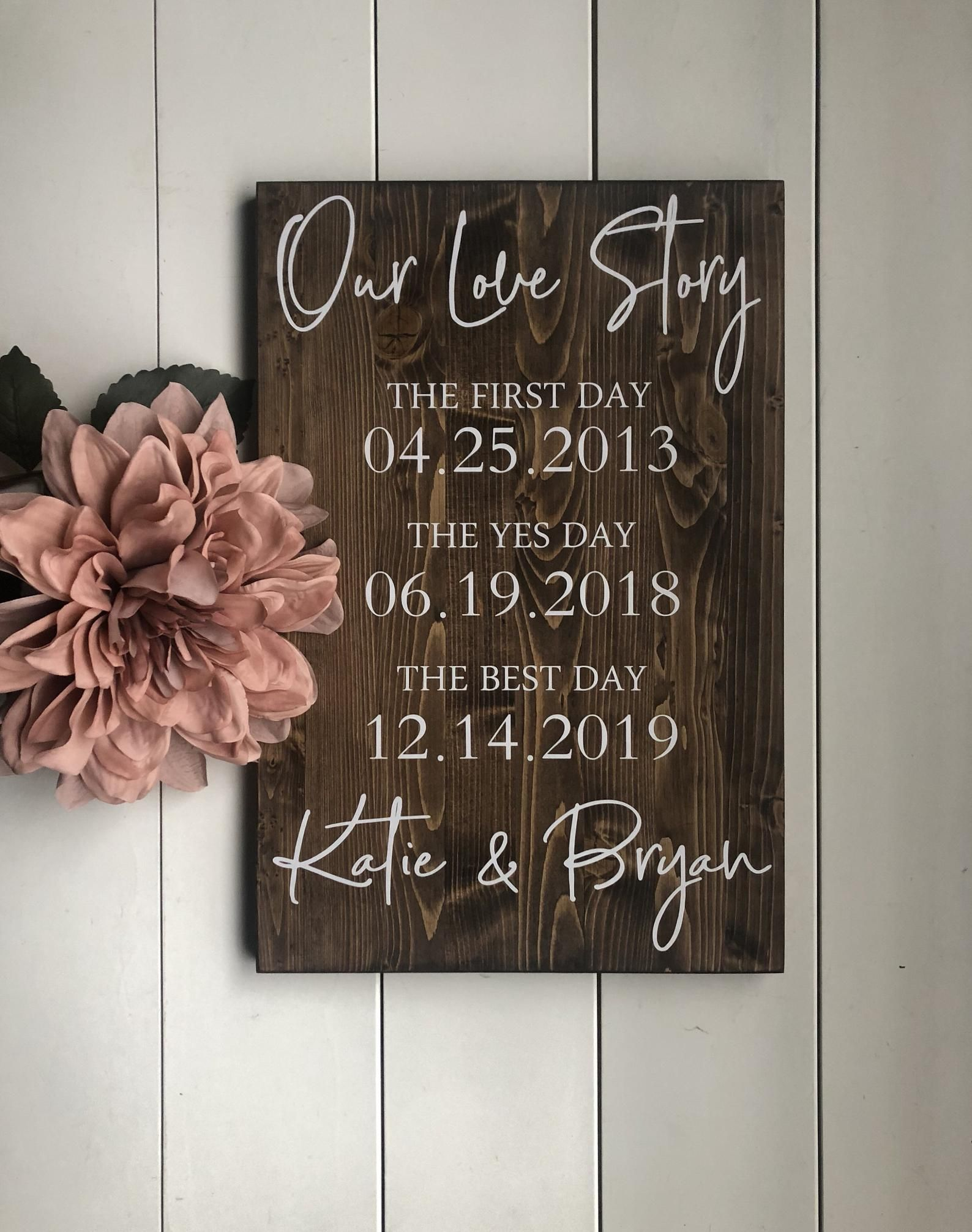 First Day Yes Day Best Day Sign Love Story Sign Special Dates | Etsy