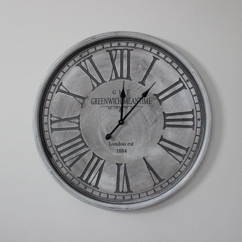 Large Round Grey Wall Clock Wall Mountable Clock With