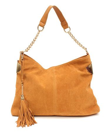 This Tan Frame Suede Hobo by GALiAN is perfect! #zulilyfinds