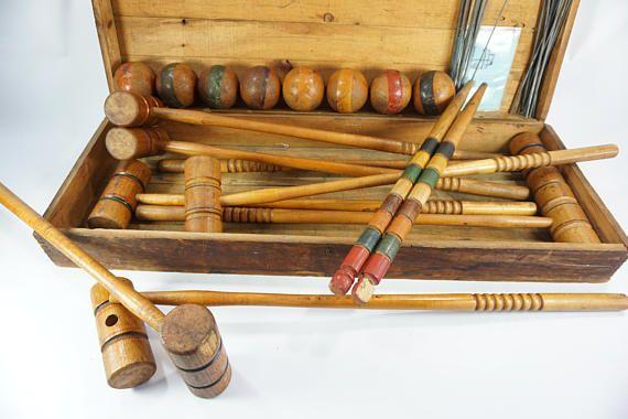 Antique Croquet Set Wooden 8 Player Dovetailed Storage Box Lawn Outdoor Summer Play Display Movie