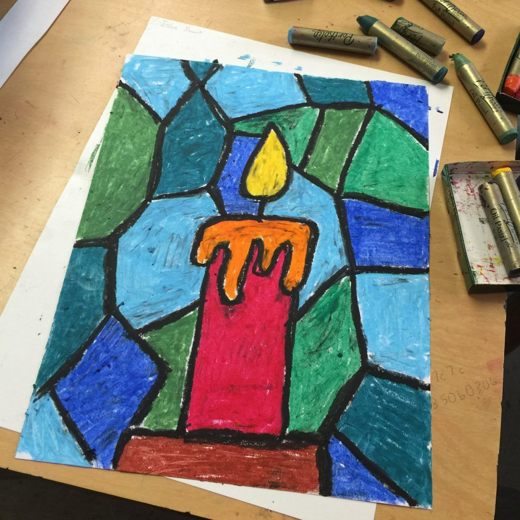 Stained Glass Candle Drawing