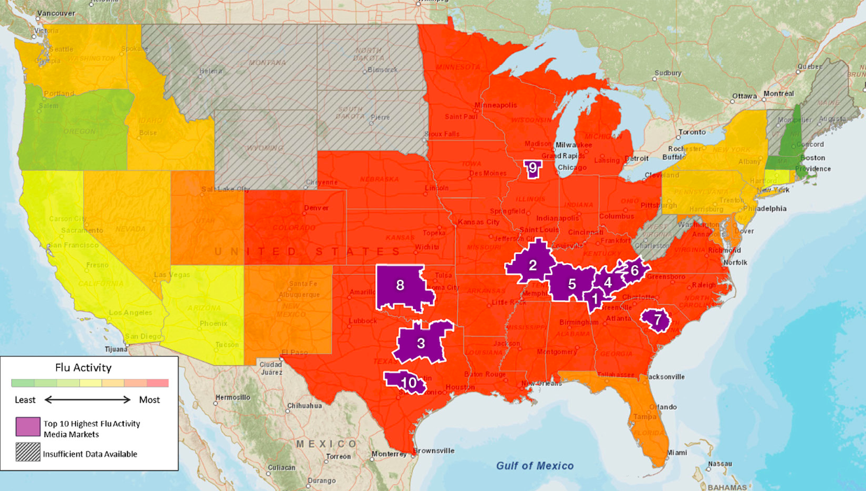 Map Where The Flu Epidemic Is Worst In The US Flu Remedies - Flu In The Us Map