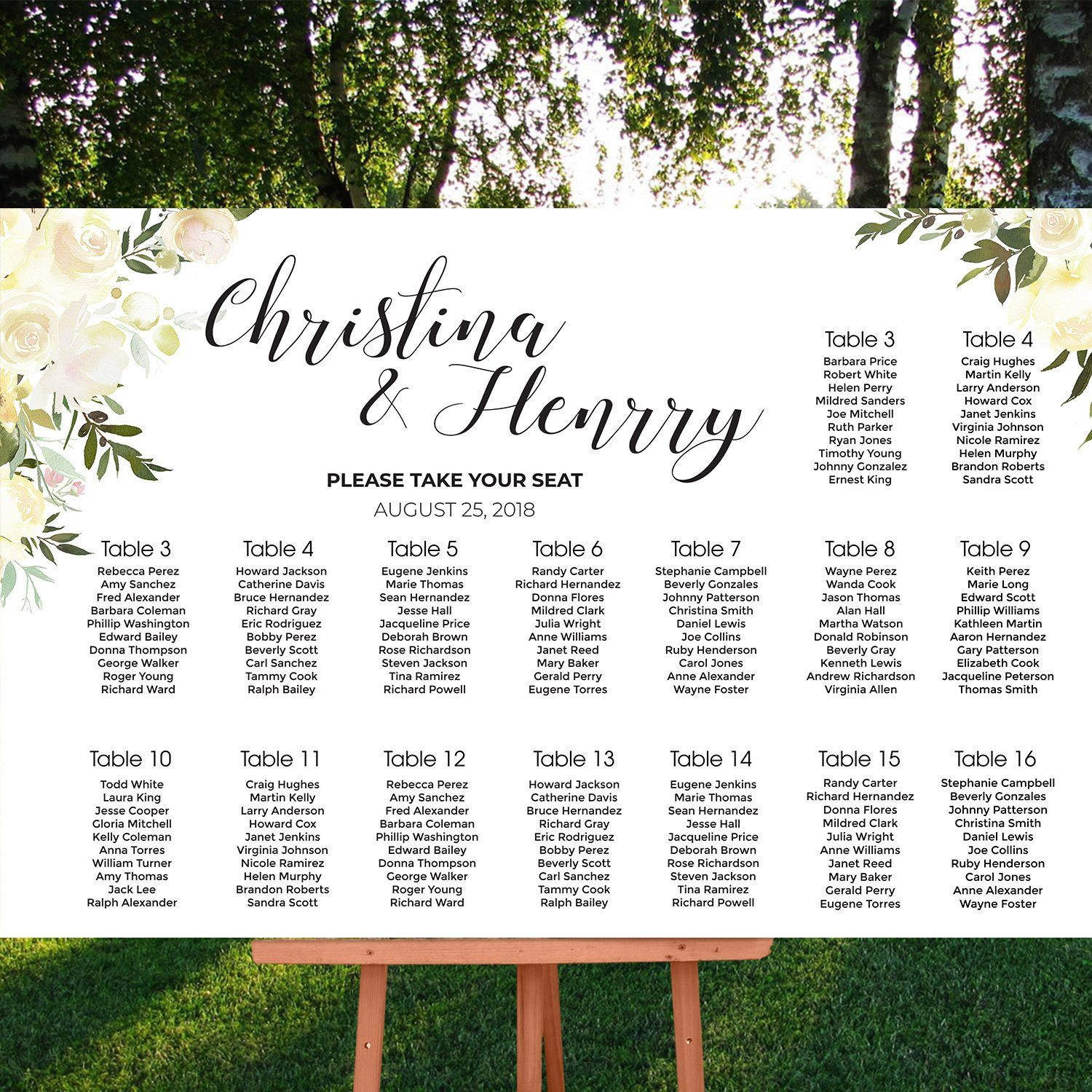 Wedding Suite Custom Seating Charts Table Number Blush White Roses Green Flowers Greenery Cr Cheap Wedding Invitations Seating Charts Seating Chart Wedding