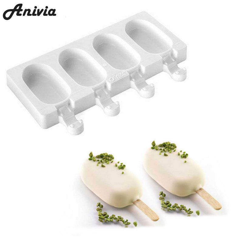 Anivia 4 Cell Silicone Frozen Ice Cream Pop Popsicle Mold Ice Maker