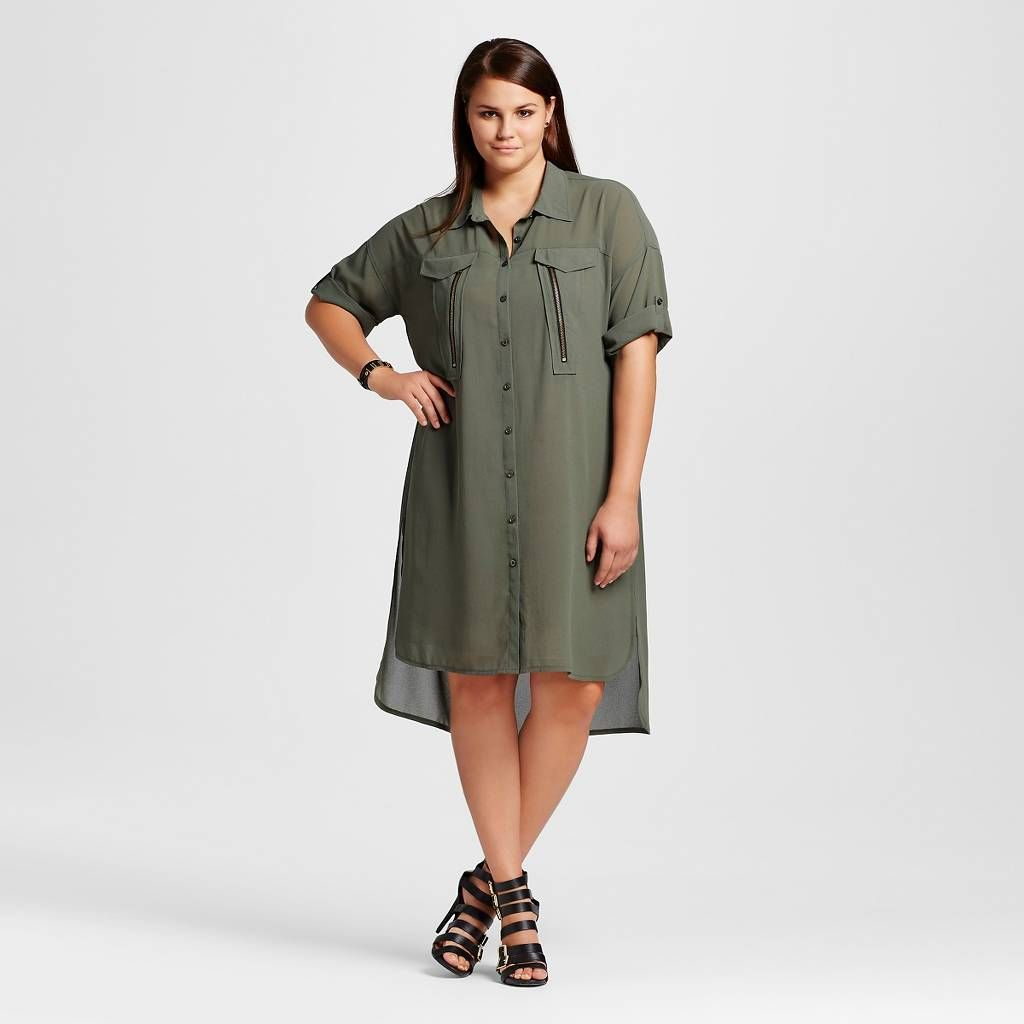 Women's Plus Size Button Front Roll Sleeve Dress - Forever Audrey. Image 1 of 2.