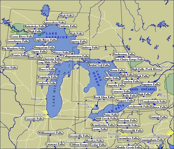 Places To Visit On Lake Michigan In Wisconsin: Map Of WaterFalls In The Great Lakes Region