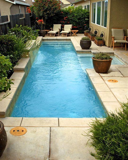 Mini pool for smaller yard lap pools pinterest sun for Small lap pool designs
