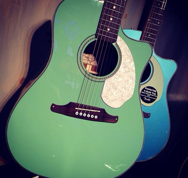 Fender Sonoran Sce Acoustic Guitar In Surf Green Guitar Acoustic Guitar Fender Acoustic Guitar