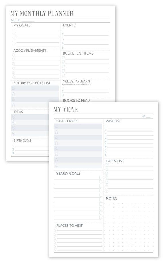 2018-2019 Planner Monthly Weekly Daily Planner 10 Pages A4