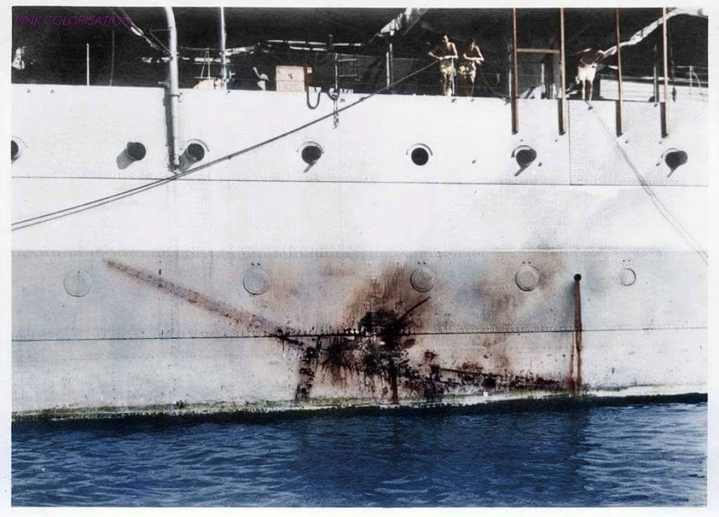 """On 26 July 1945, her Task Force was attacked by two bombers acting as """"Kamikaze"""" suicide weapons. One made an imprint on the side of the HMS Sussex, from which it could be identified as a Mitsubishi..."""