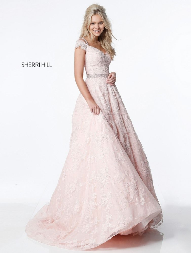 Sherri hill homecoming · Lace ball gown with cap sleeves Spring 2017 #51451