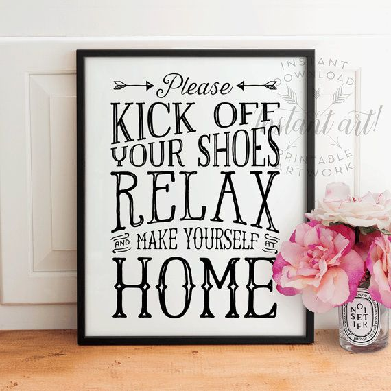 Welcome Friends Shoes Off Sign Wall Plaque or Hanging Sign Floral Chic Entrance