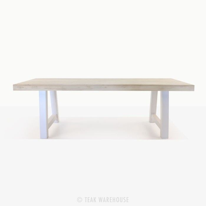 Teak Trestle Table With White Legs Side View Outdoor Dining