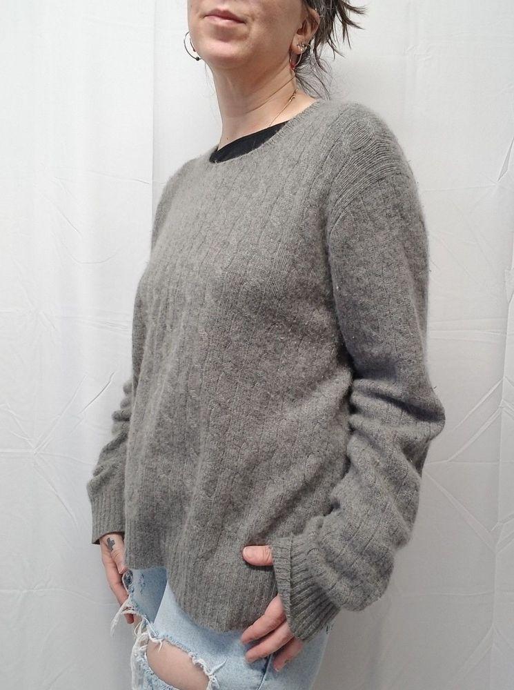 ba603c5e62 Vtg POLO Ralph Lauren Gray Cable Knit Crewneck 100% Cashmere Sweater Womens  XL  PoloRalphLauren  Crewneck