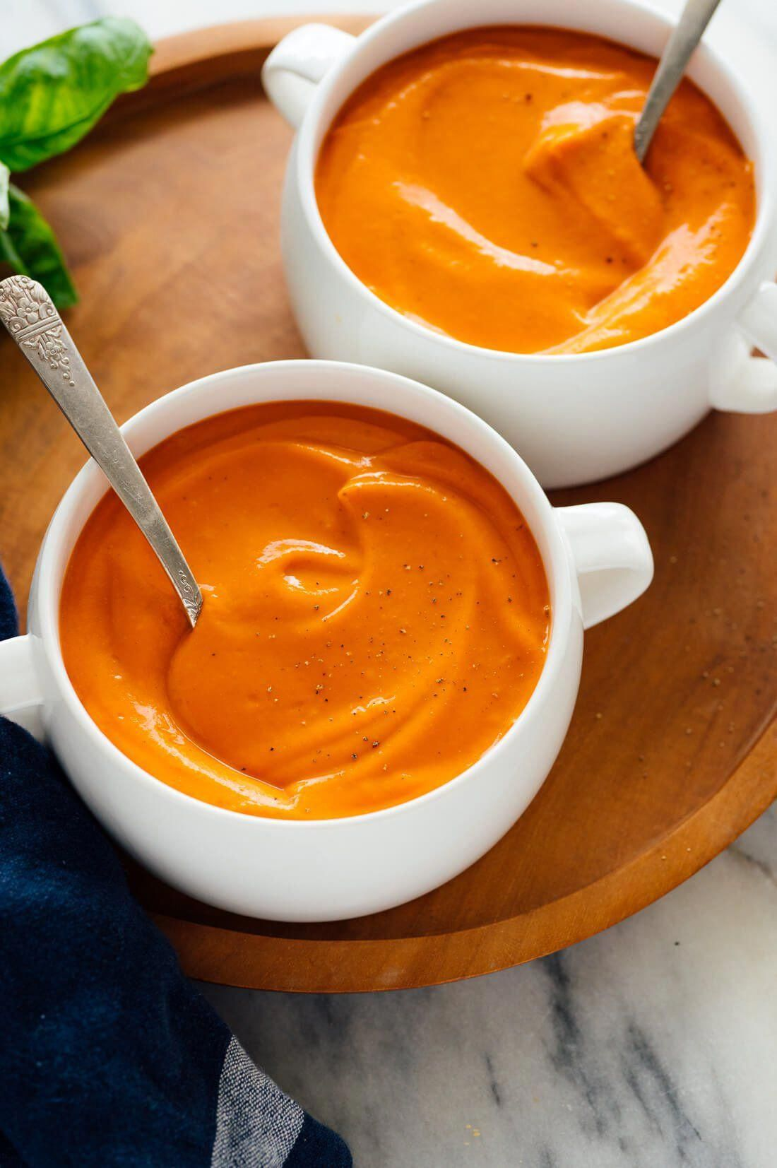 You're going to LOVE this classic tomato soup recipe! It's super creamy, yet light and cream-less. Learn how to make it tonight!