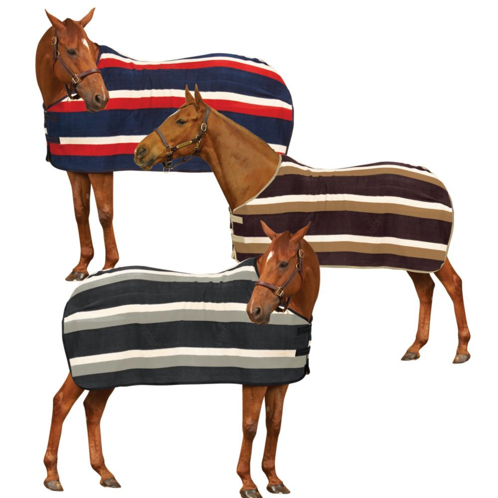 Centaur Newmarket Striped Fleece Cooler And Horse Coolers Equestriancollections Mobile