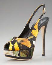 Giuseppe Zanotti Floral-Print Platform Sandal