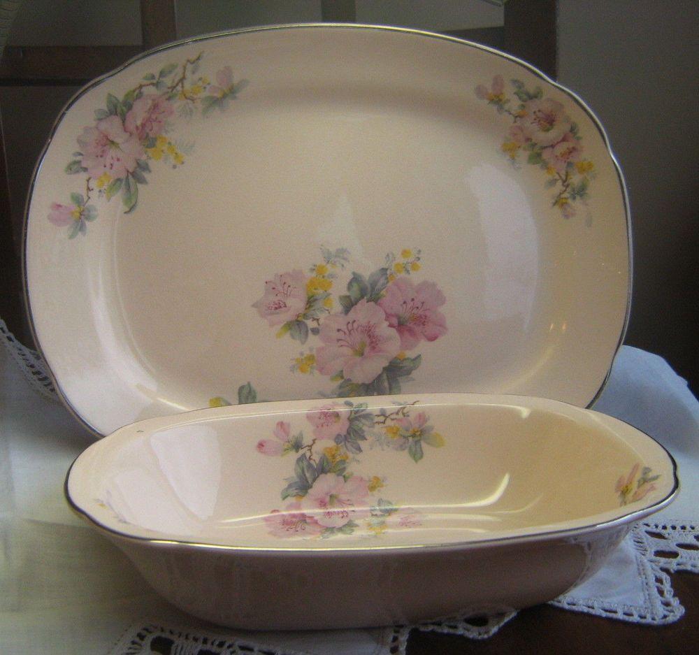 VINTAGE PINK-FLORAL QUADRO CROOKSVILLE CHINA Platter Serving Bowl LOT Azalea #Crooksville & VINTAGE PINK-FLORAL QUADRO CROOKSVILLE CHINA Platter Serving Bowl ...