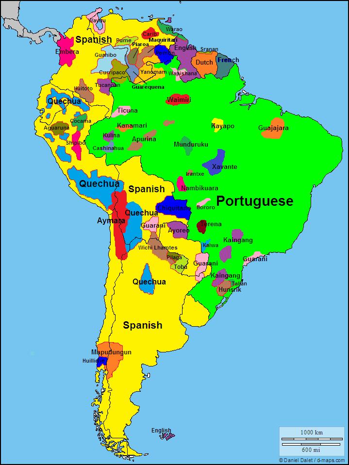 Amerique Du Sud Map Languages of South America / Les langues de l'#Amérique du Sud