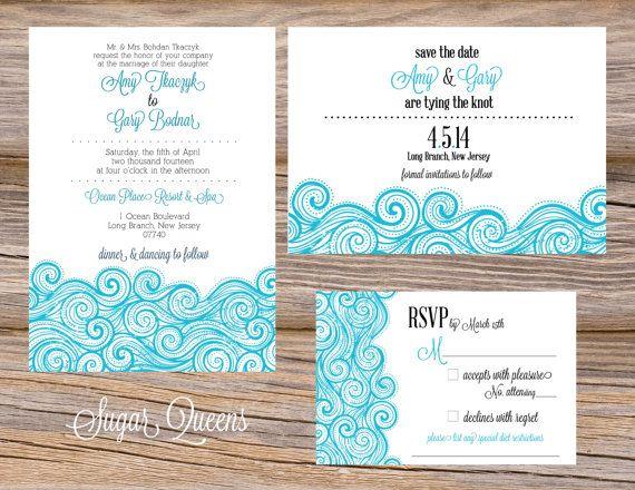 Wedding Invitation Rsvp Date: Ocean Waves Summer Beach Wedding Invitation Suite