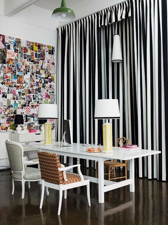 Decorating Your Room Using Black And White Striped Curtains Goodworksfurnit In 2020 Black And White Living Room Curtains Living Room Mismatched Living Room Furniture