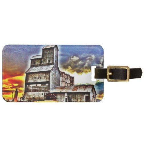 Rural Montana Country Grain Elevator Farmers Gift Tags For Luggage