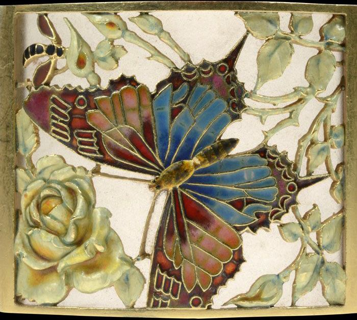 Art Nouveau - Bracelet 'Papillons' - Or Jaune, Verre Dépoli et émail - Carreras Barcelona - Vers 1905