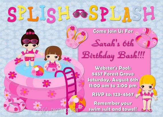 Pool Party Birthday Invitation Girls Birthday Party Pinterest - birthday invitation pool party