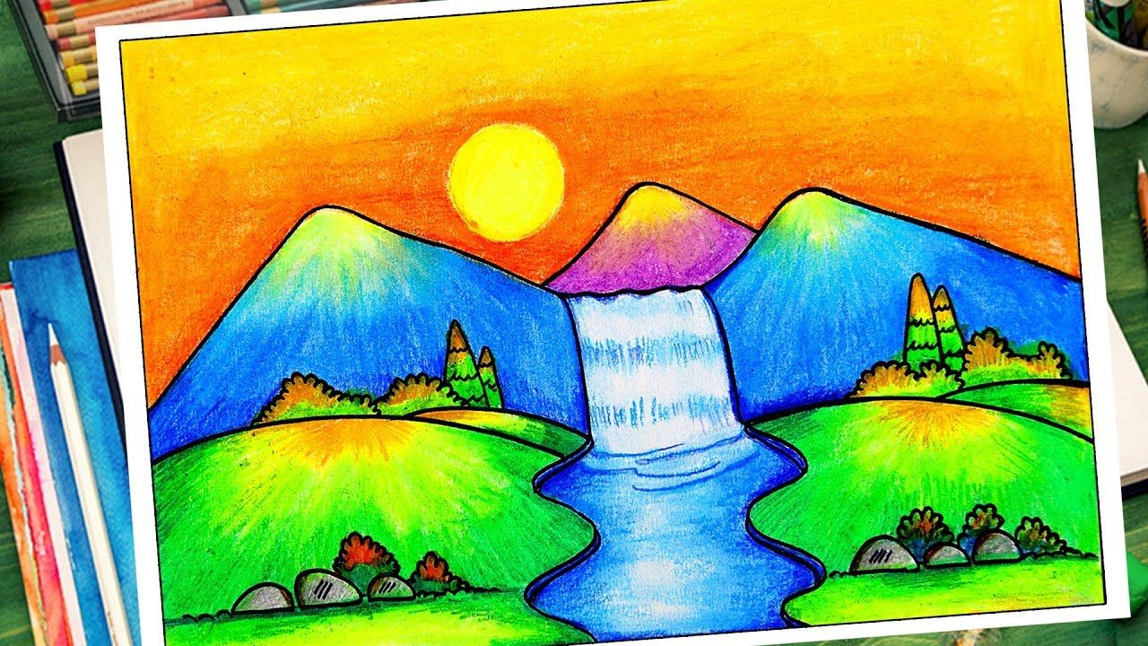 How To Draw Easy Scenery For Kids Waterfall Scenery Drawing Very