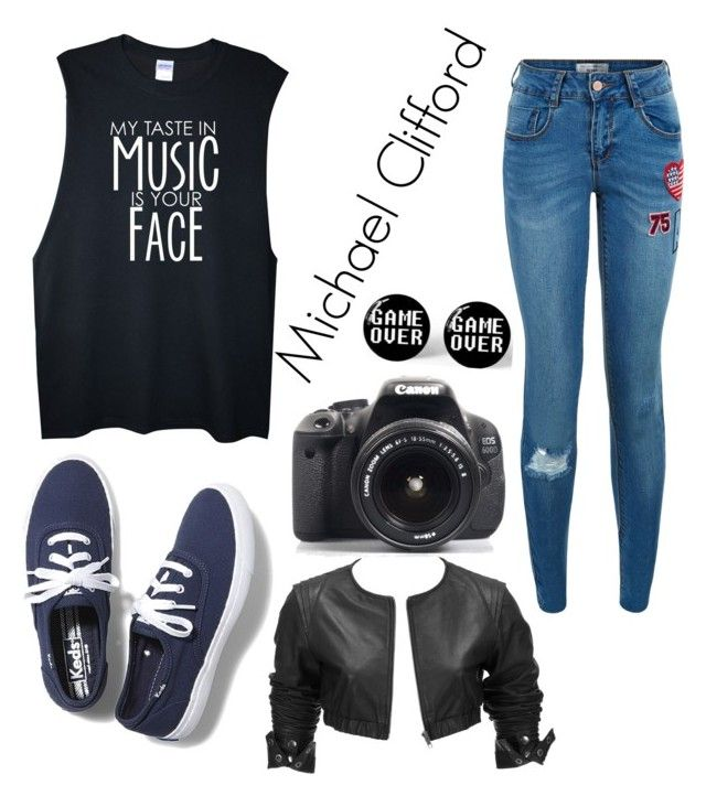 """It All Started With A Photo (Michael Clifford One Shot)"" by maddie-213 ❤ liked on Polyvore featuring Keds, New Look, Just Female and Eos"