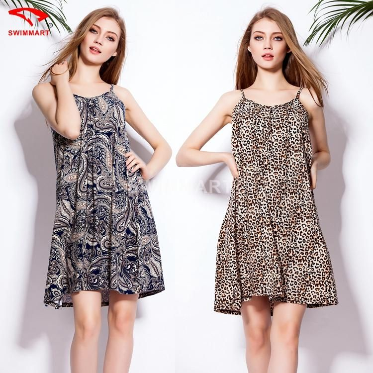 2015 New Europe Beach Resort Beach Dress Fashion And Personality Loose Thin Straps Dress Sexy Backless Printing Beach Dress Online with $27.59/Piece on Garychris's Store | DHgate.com