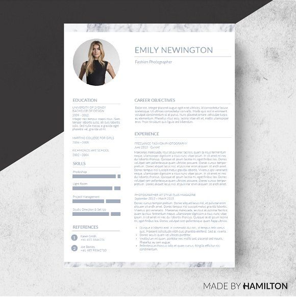 Marble Resume TemplateBusiness Card By Made By Hamilton On