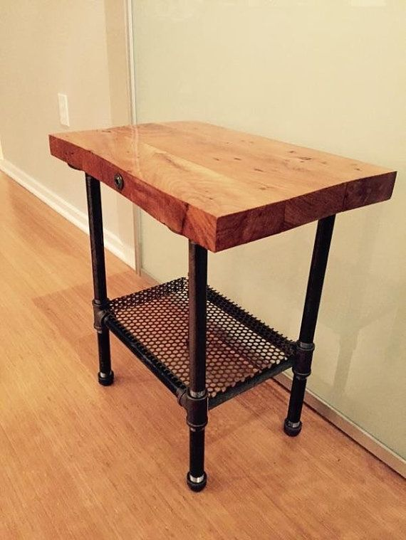 Awesome Rustic Industrial Wood End Table Or Night Stand Pipe Legs CUSTOM MADE