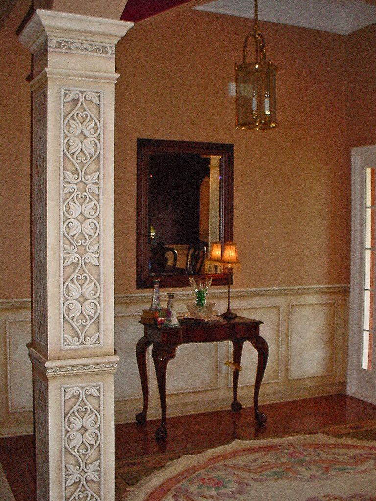 Faux Painted Columns Part - 43: Faux Painted Columns - Started Out As Smooth Square White Columns. Hand-cut  Stencil