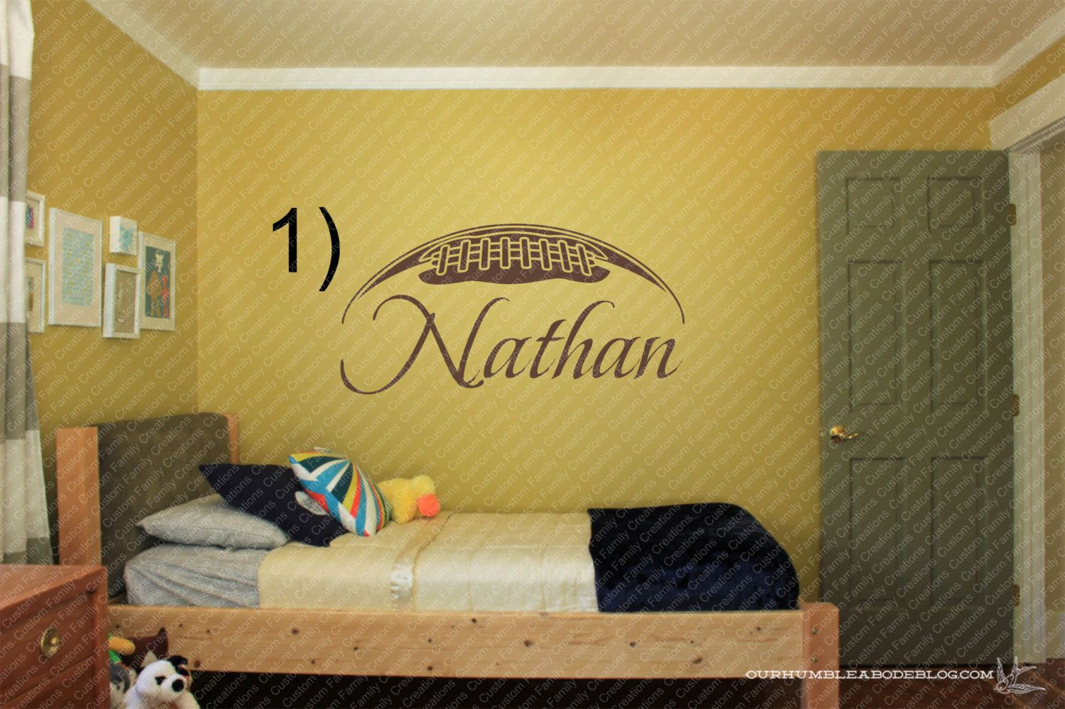 Personalized Football With Name Wall Decal Wall ,Personalized Wall ...