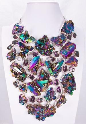 Mystic Quartz & Titanium Treated Quartz Necklace by Charles Albert by marisol