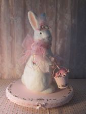 shabby cute hand painted pink roses easter bunny w/bucket,stand clay roses