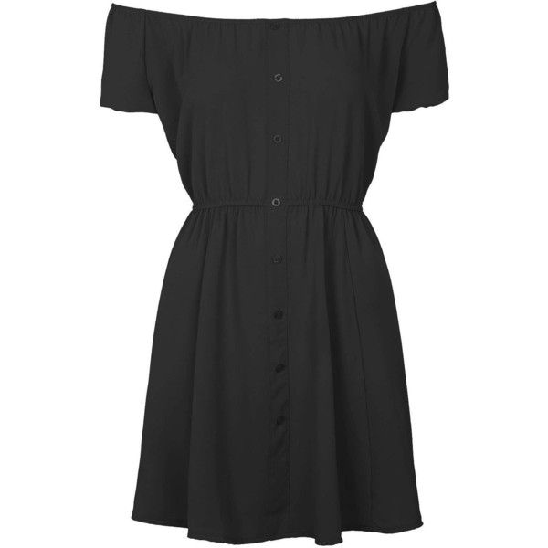 **Bardot Button Dress by Wal G (155 BRL) ❤ liked on Polyvore featuring dresses, vestidos, black, fitted dresses, button front dress, walg and button dress
